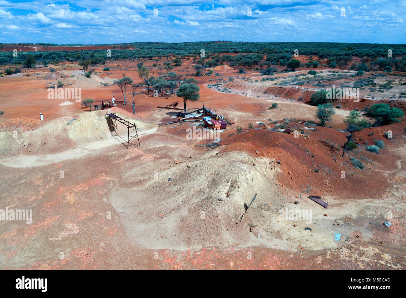 Remains of gold mining activities seen from the air, Murchison, Western Australia - Stock Image
