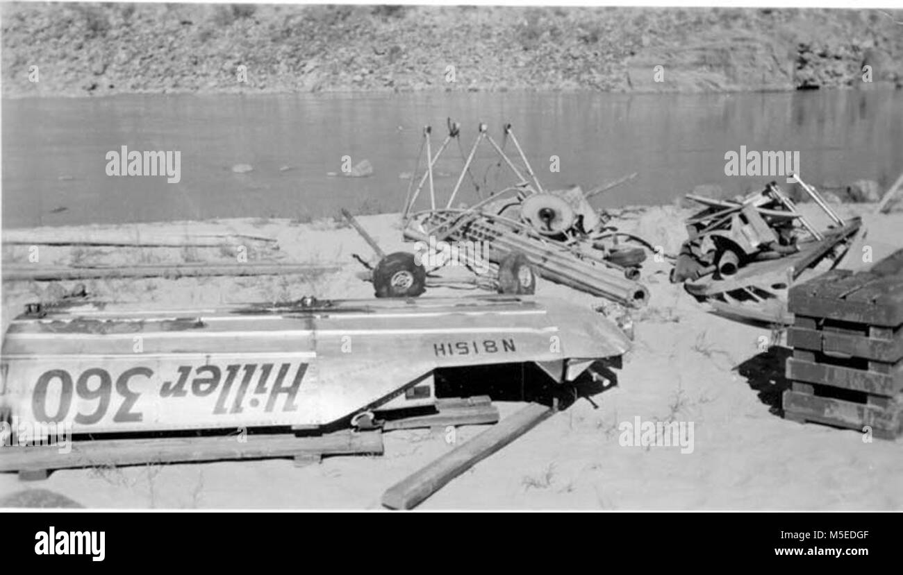 Grand Canyon Historic- Phantom Ranch Helicopter Crash   Hiller 360, a helicopter owned by arizona helicopter service - Stock Image