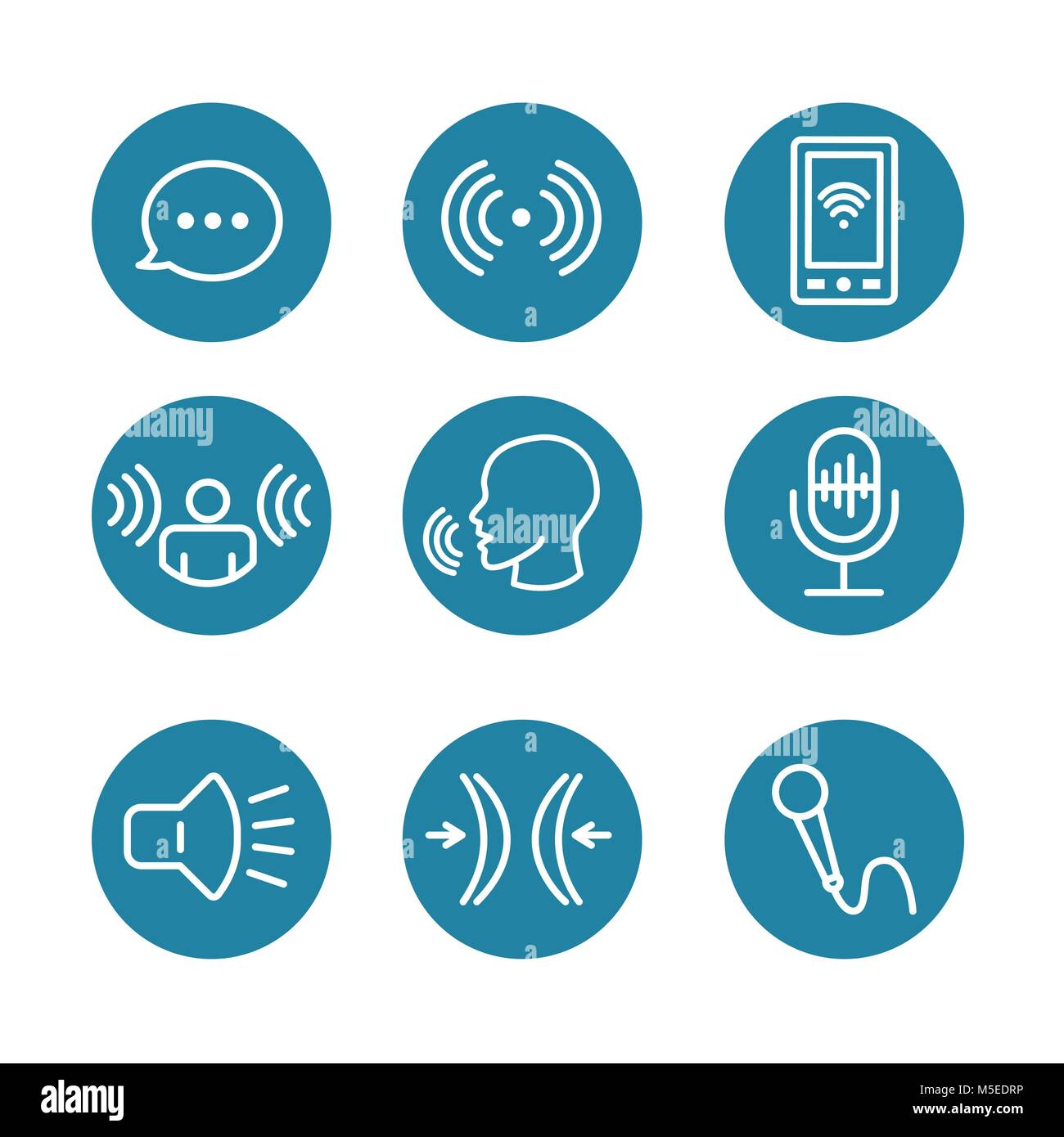 Voice Recording and Voiceover Icon Set with Microphone, Voice Scan Recognition Software - Stock Image