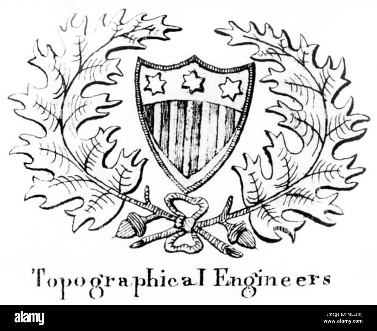 Grand Canyon Powell Expedition   1860 INSIGNIA OF THE CORPS OF TOPOGRAPHICAL ENGINEERS - USED ON POWELL'S SECOND - Stock Image