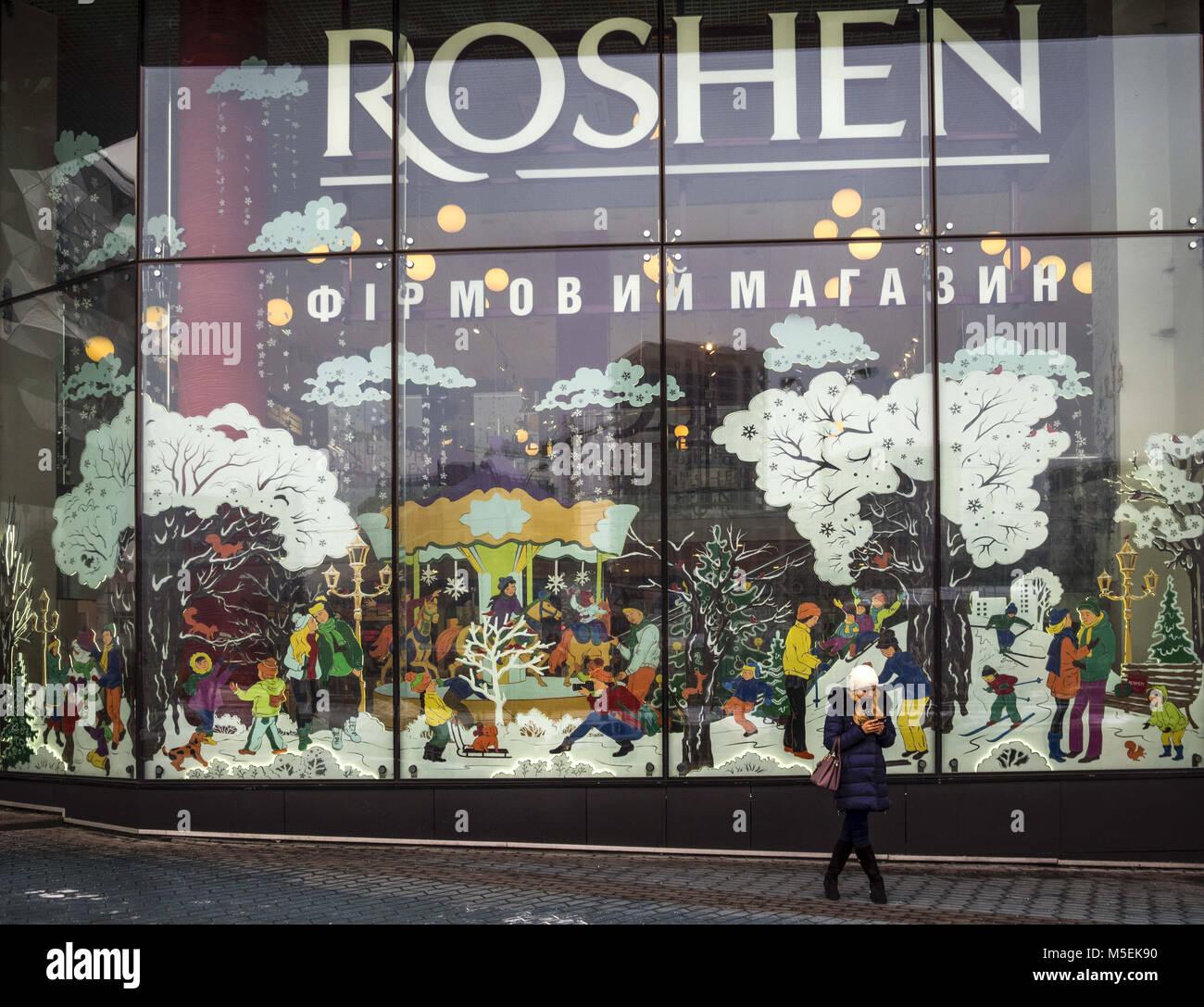Kiev, Ukraine. 22nd Feb, 2018. Roshen store seen in Ocean Plaza mall ...