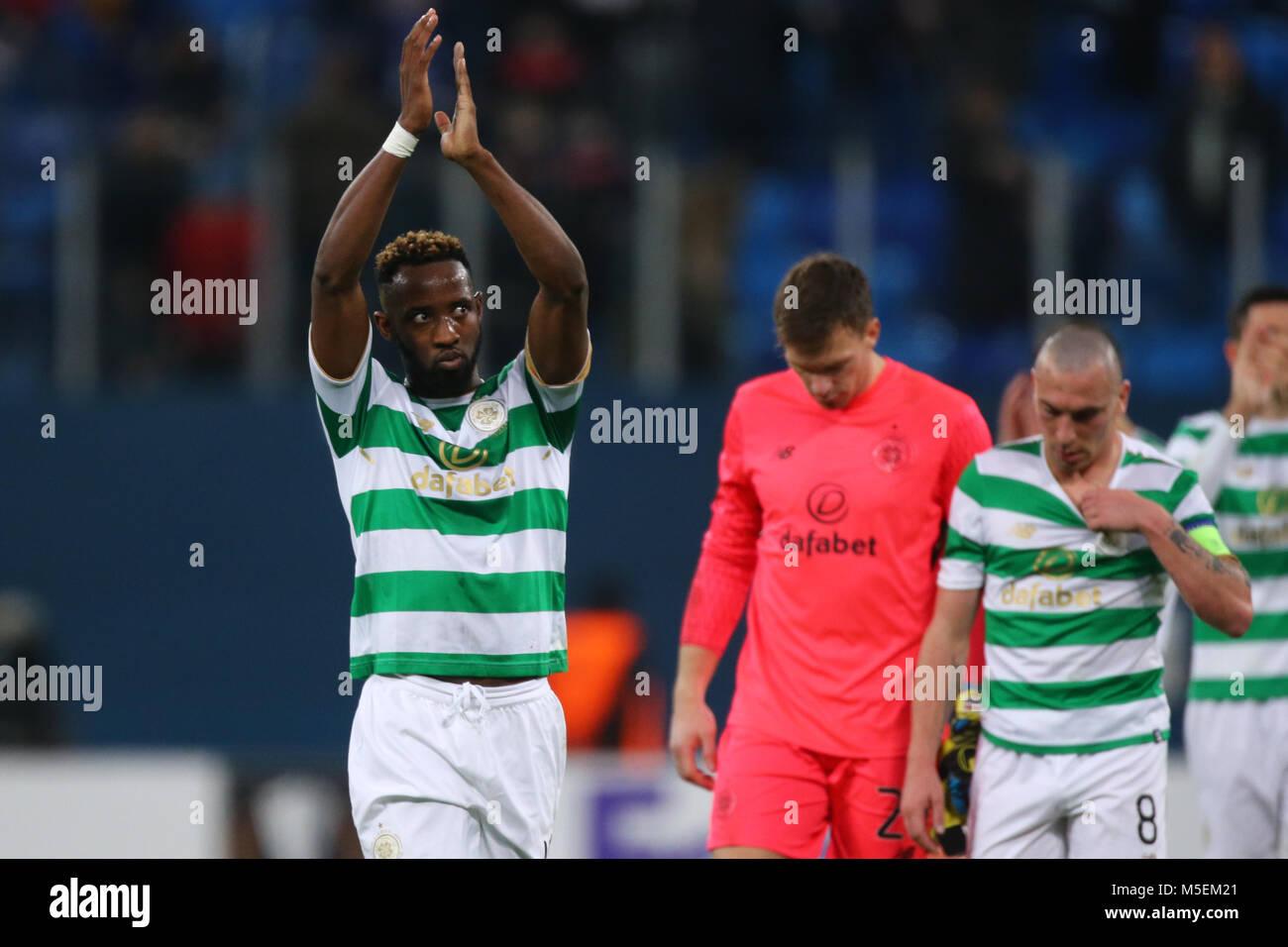 Saint Petersburg, Russia. 22nd Feb, 2018. Moussa Dembélé of FK Celtic reacts during the UEFA Europa League - Stock Image