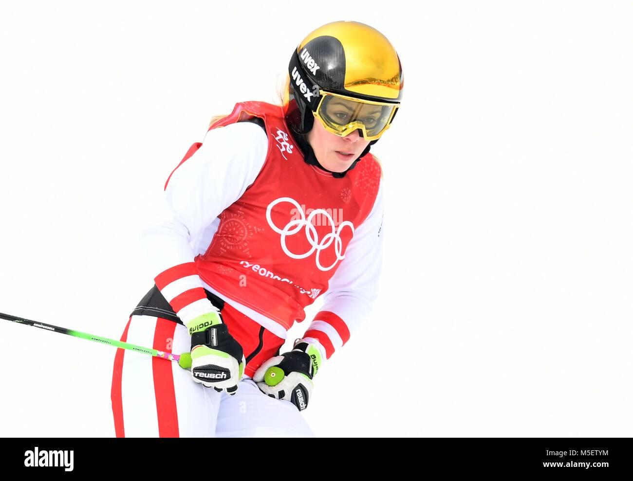Winter Olympics 2018 Pyeongchang, South Korea . 23rd February, 2018. Andrea Limbacher (AUT). 1/8 final. Womens ski - Stock Image