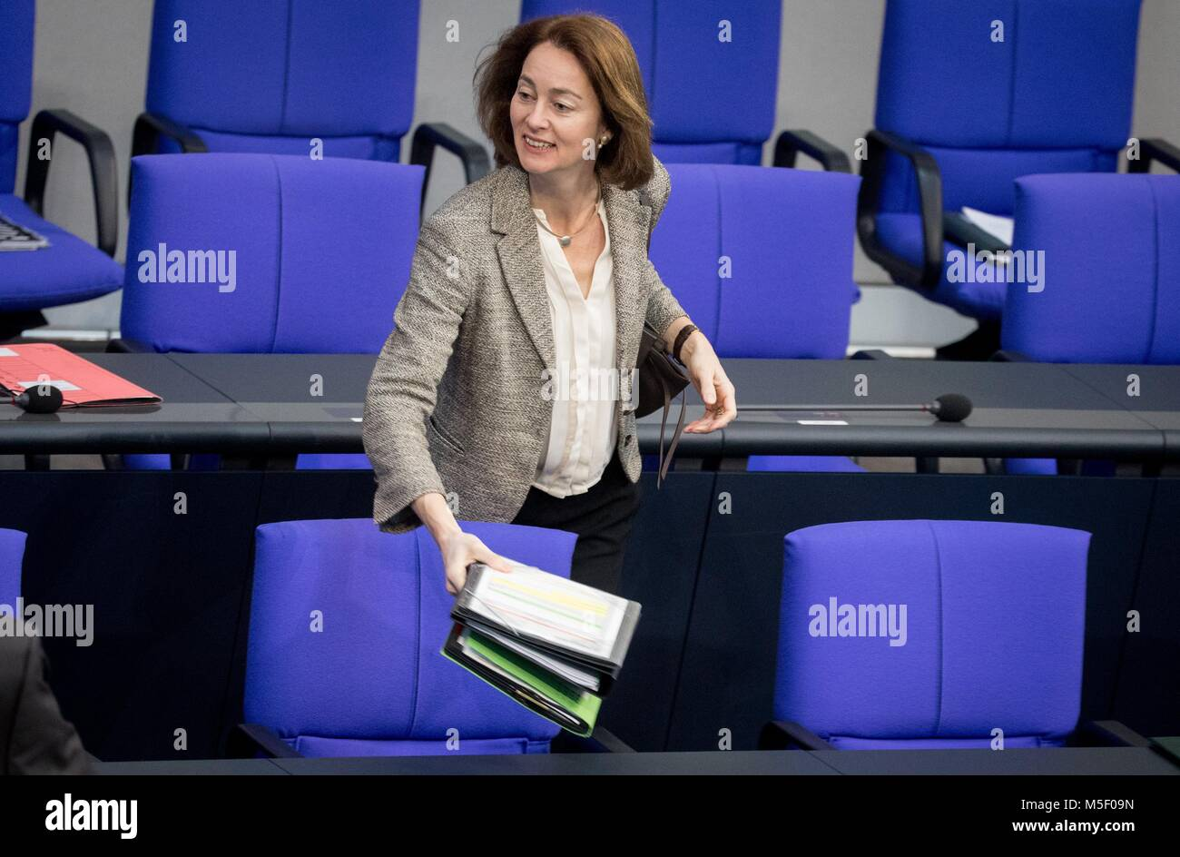 Berlin, Germany. 23rd Feb, 2018. Family Minister Katarina Barley of the Social Democratic Party (SPD) speaks at - Stock Image