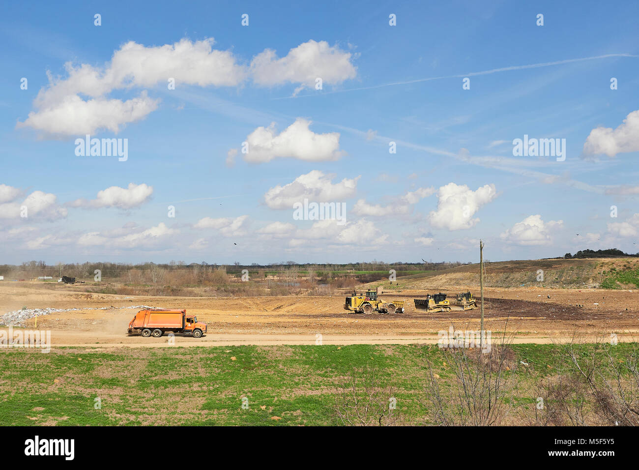 Landfill site or dump, wide angle view with copy space in Montgomery Alabama, USA. - Stock Image