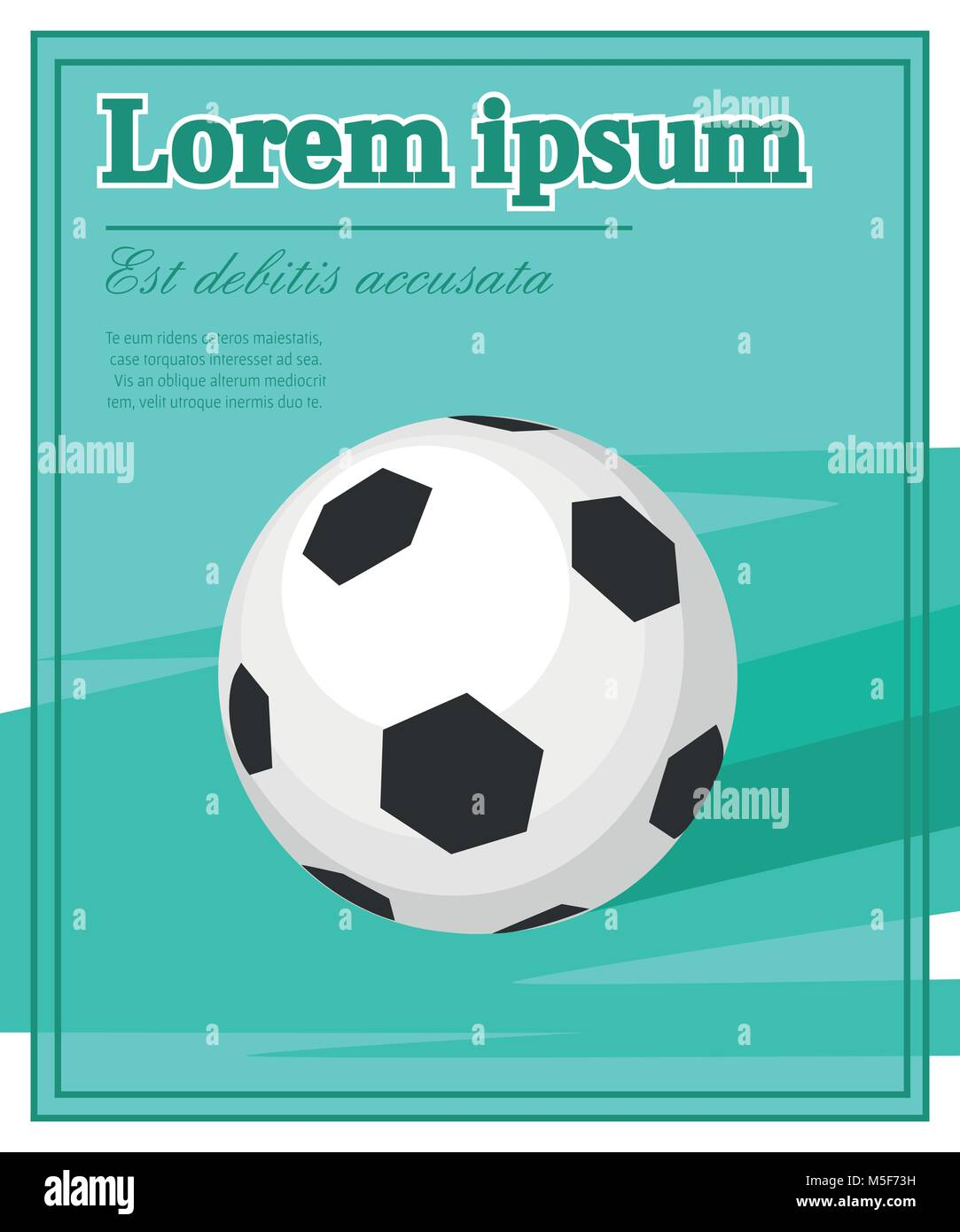 Classic black and white soccer ball vector illustration with place for your text isolated on colored background. - Stock Vector