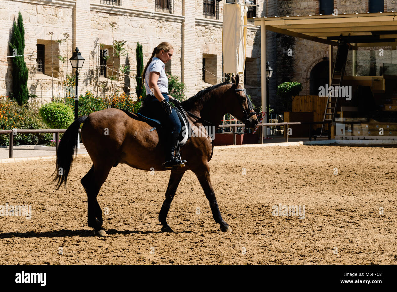 Cordoba, Spain - April 12, 2017: Woman horse rider riding a brown andalusian horse also known as Pure Spanish Horse Stock Photo
