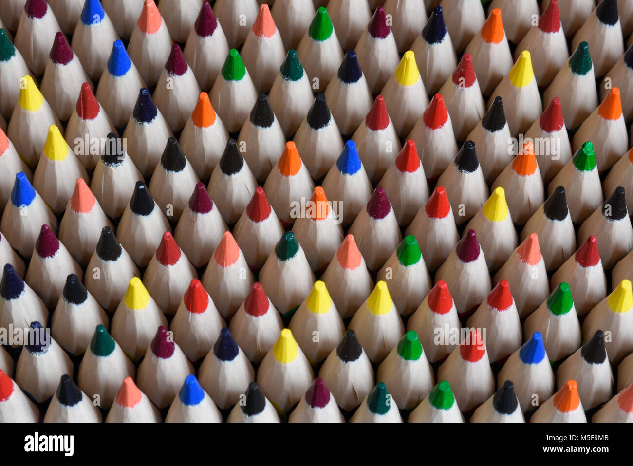 Coloured pencil tips - Stock Image