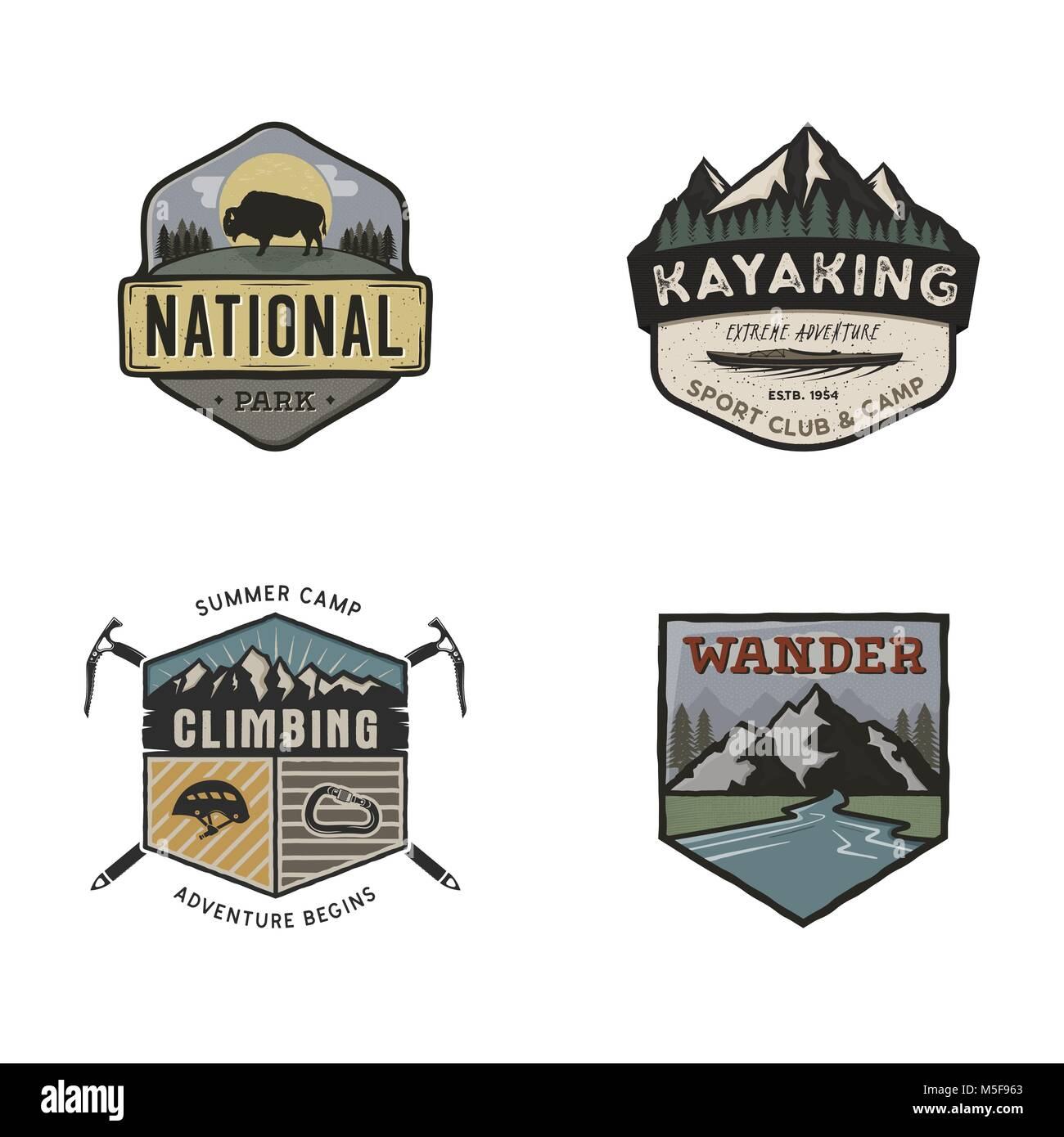 Set of vintage hand drawn travel logos. Camping labels concepts. Mountain expedition badge designs. Travel logos, - Stock Image