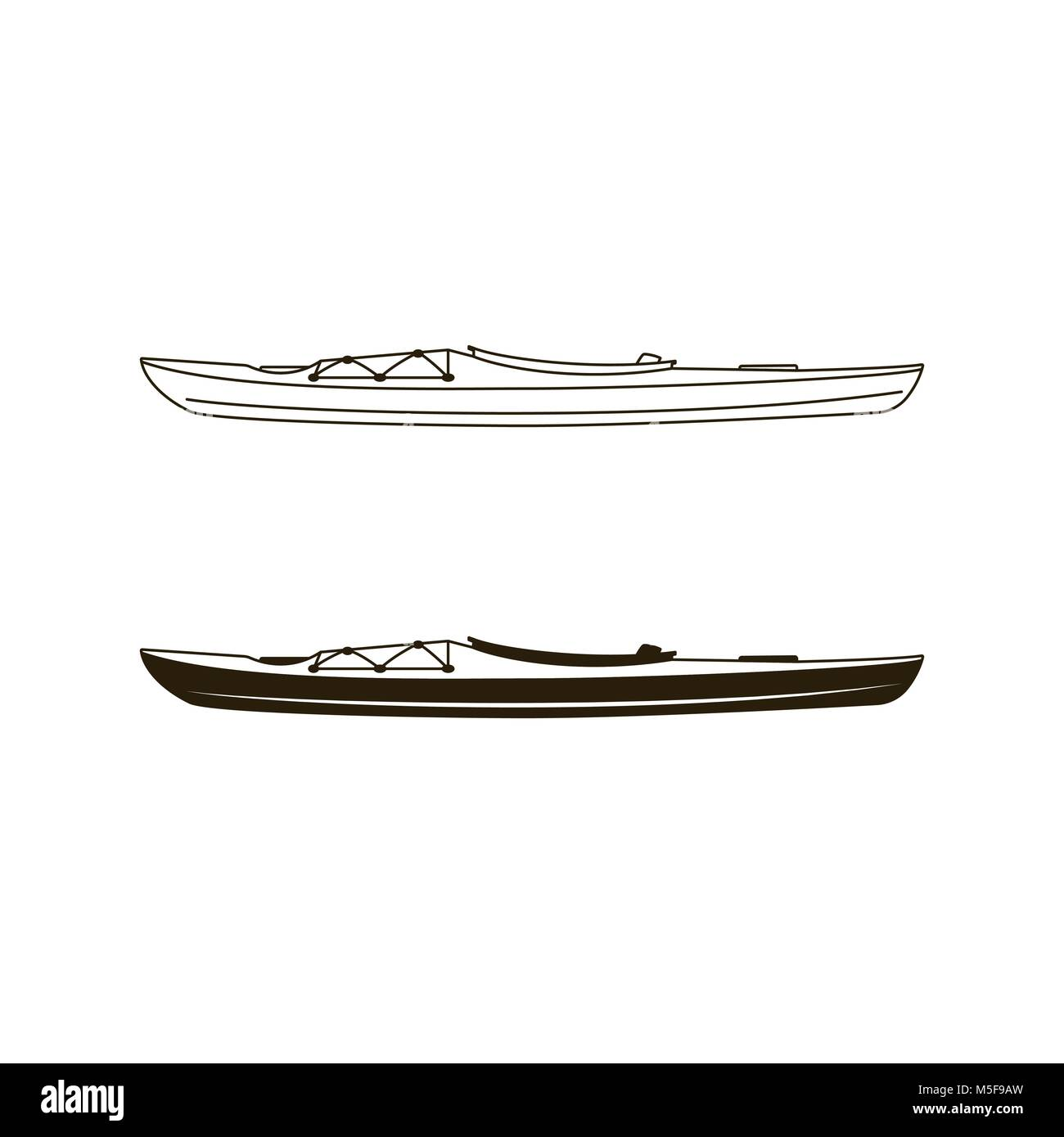 Kayak canoe icons in flat filled and line art style. Linear and silhouette styles pictograms. Stock vector illustration - Stock Vector