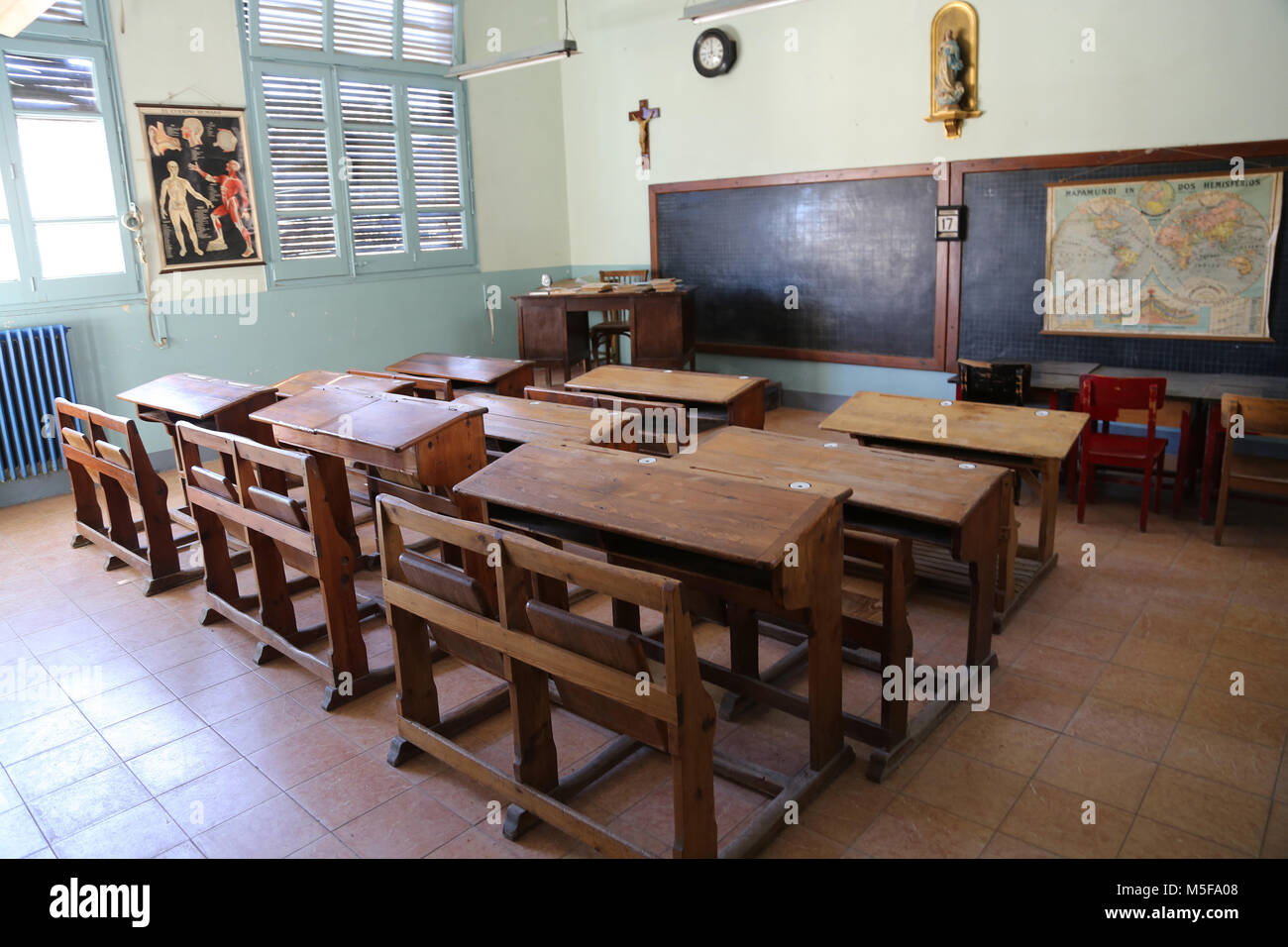 Spain, Catalonia, Puig-Reig. Can Vidal. Textile Industrial colony. 1901-1980. School. - Stock Image