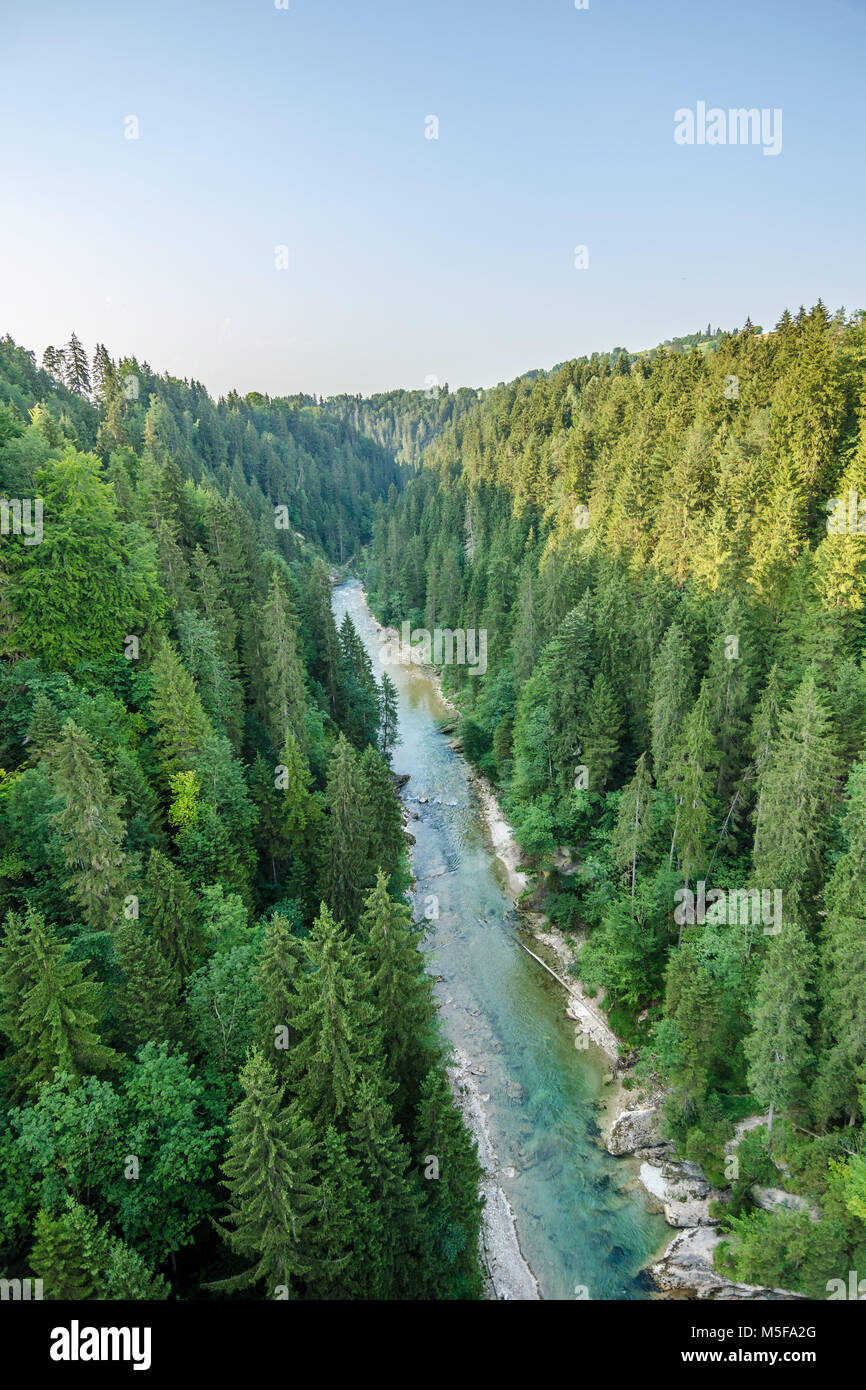 Ammervalley in bavaria germany photographed form the Echelsbacher Bridge - Stock Image