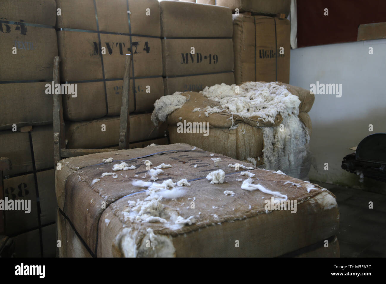 Spain, Catalonia, Puig-Reig. Can Vidal. Textile Industrial colony. 1901-1980. Cotton Bale. - Stock Image
