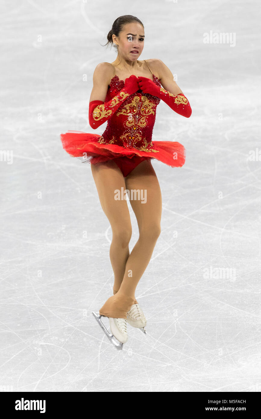 Alina Zagitova (OAR) wins the gold medal in the Figure Skating - Ladies' Free at the Olympic Winter Games PyeongChang - Stock Image