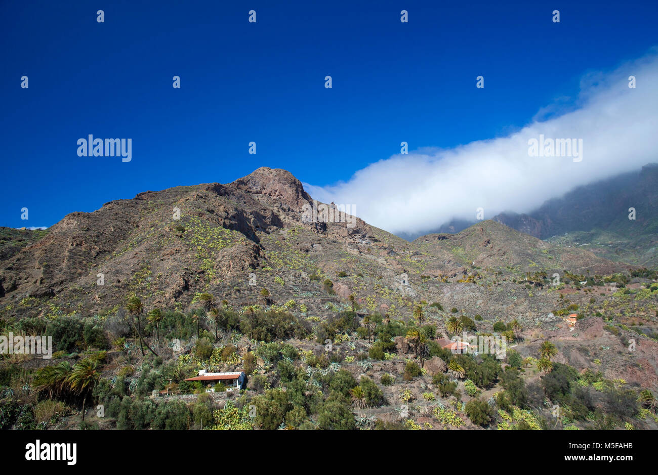 Gran Canaria, February 2018, one of the largest aboriginal cave villages on Canary Islands, Montana de los Huesos - Stock Image