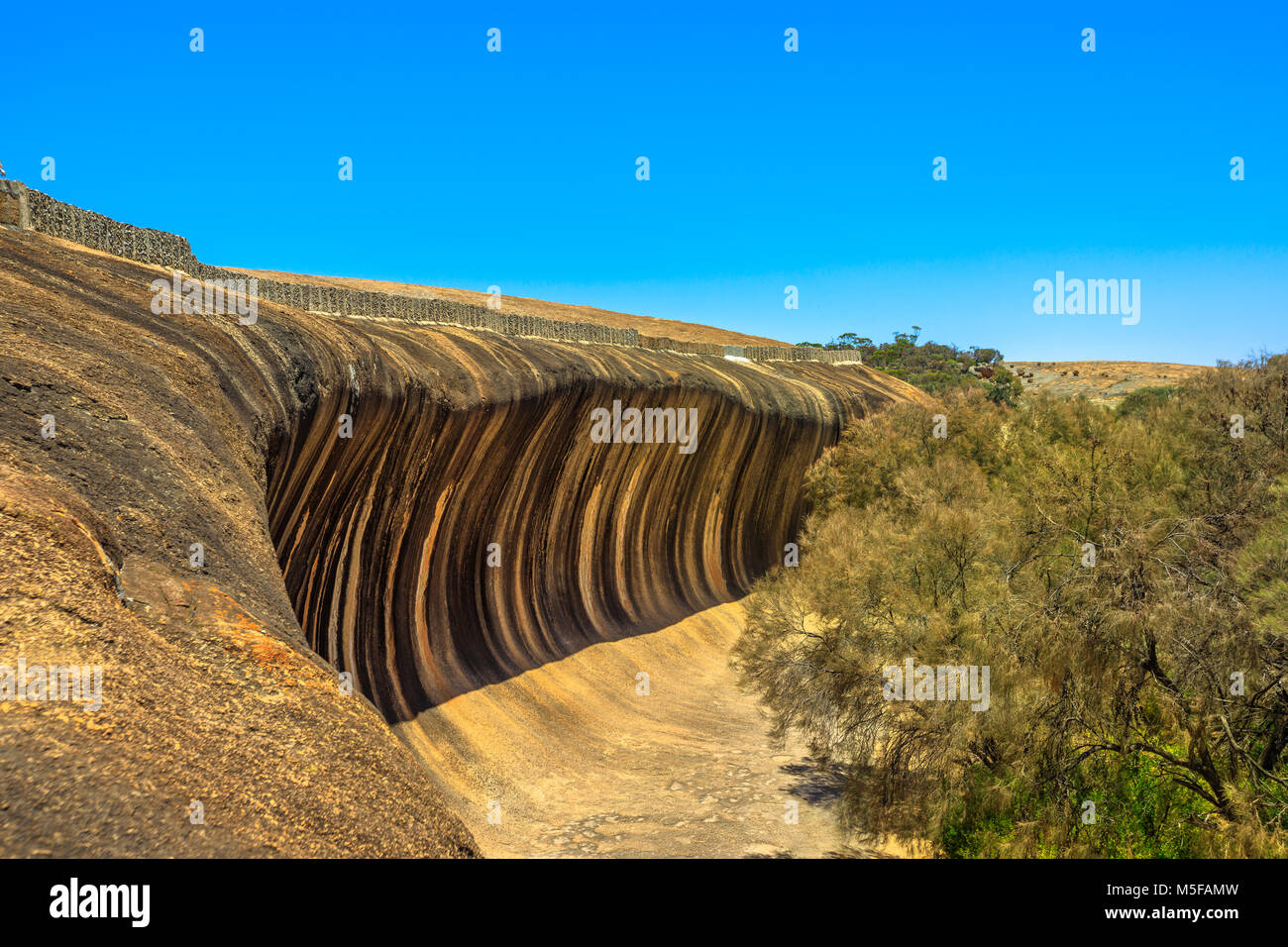 Aerial view from top of Wave Rock, Hyden, Western Australia. The natural rock formation is shaped like a tall ocean - Stock Image