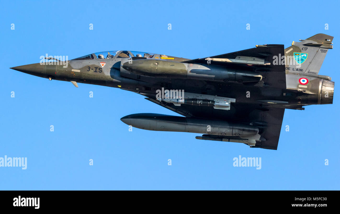 LEEUWARDEN, NETHERLANDS - MAR 28, 2017: French Air Force Dassault Mirage 2000 fighter jet plane in flight during exercise Frisian Flag. Stock Photo