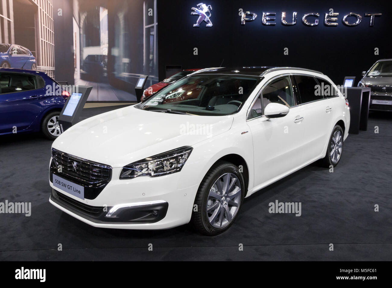brussels jan 10 2018 peugeot 508 sw gt line station wagon car stock photo 175515817 alamy. Black Bedroom Furniture Sets. Home Design Ideas