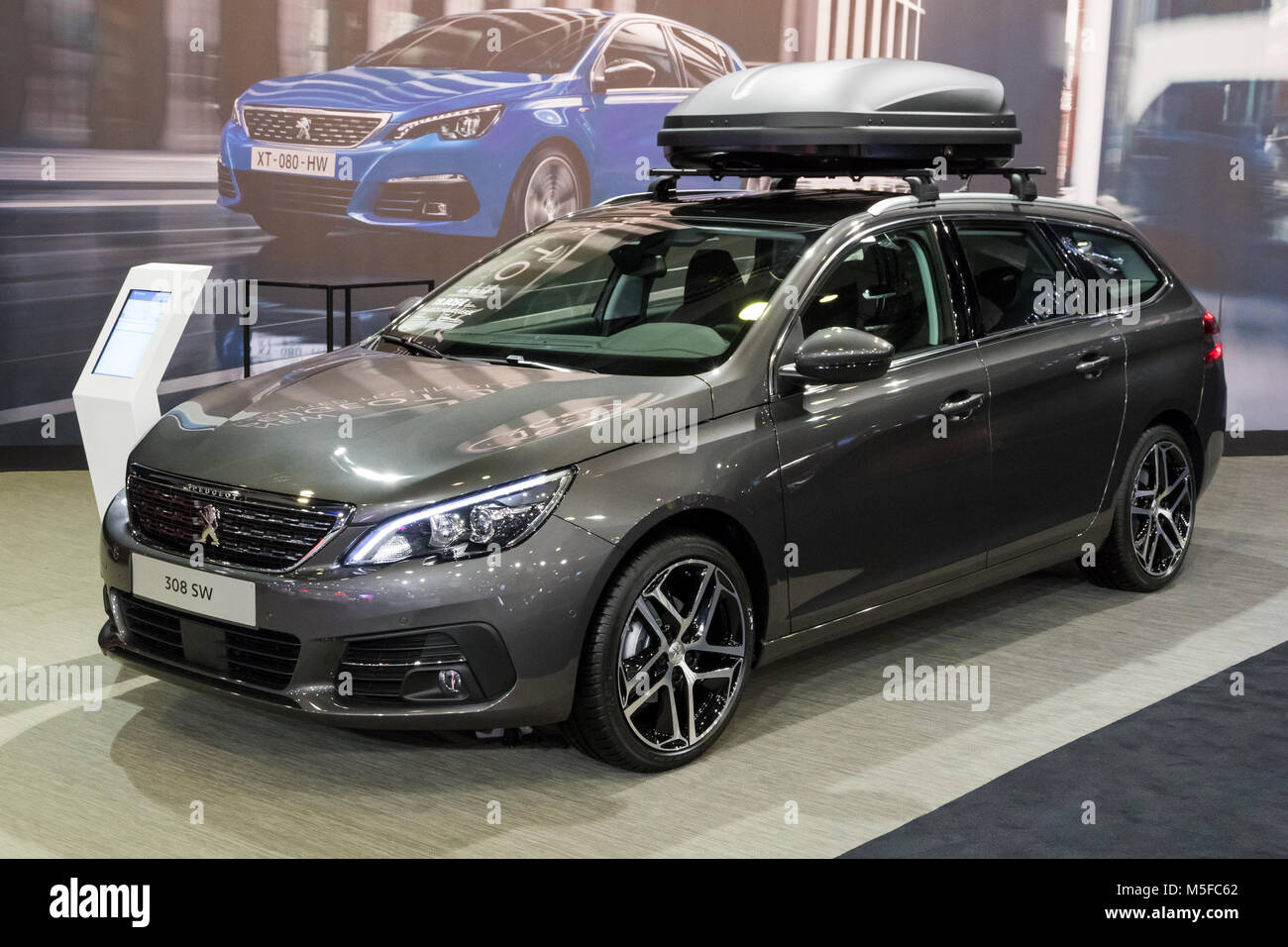 brussels jan 10 2018 peugeot 308 sw station wagon car shown at stock photo 175515818 alamy. Black Bedroom Furniture Sets. Home Design Ideas