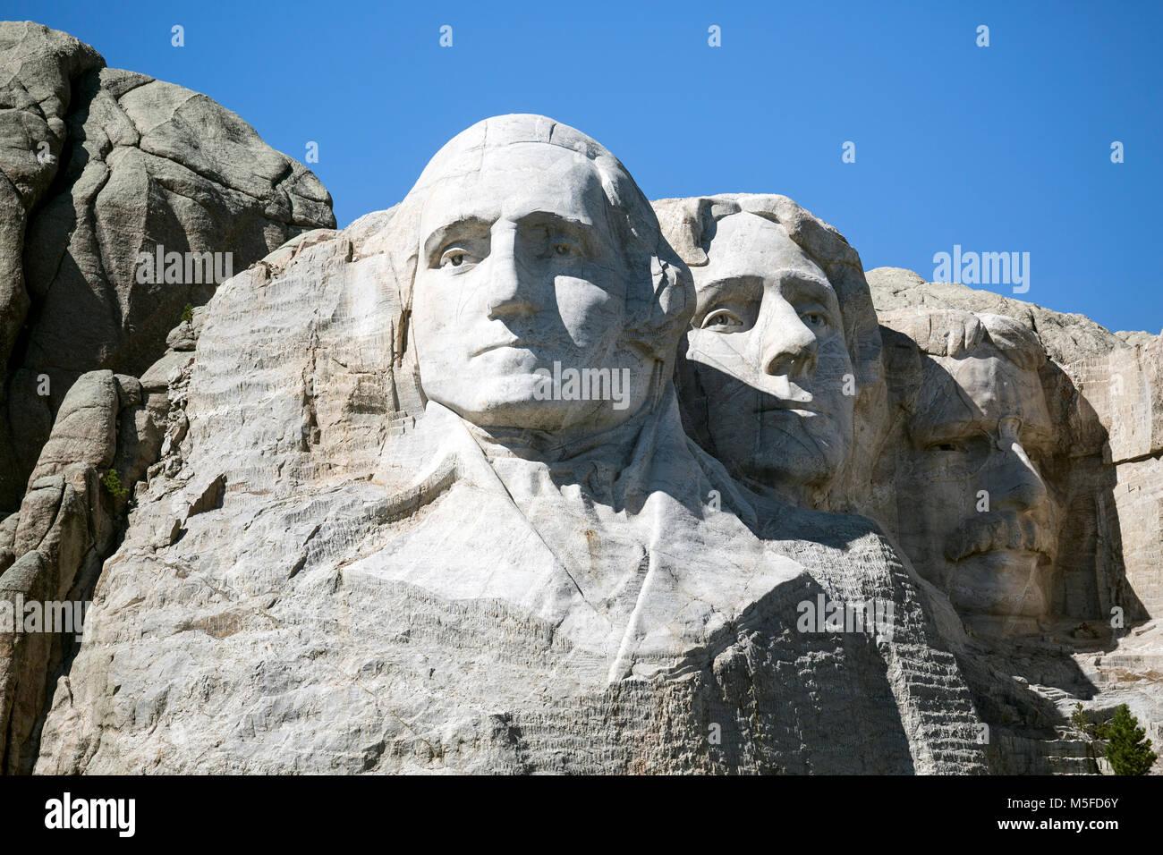 SD00005-00...SOUTH DAKOTA - Presendents George Washington, Thomas Jefferson and Theodore Roosevelt   carved into - Stock Image