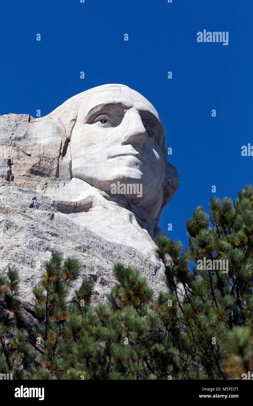 SD00011-00...SOUTH DAKOTA - Presedent George Washington carved into a mountainside at Mount Rushmore National Memorial. - Stock Image