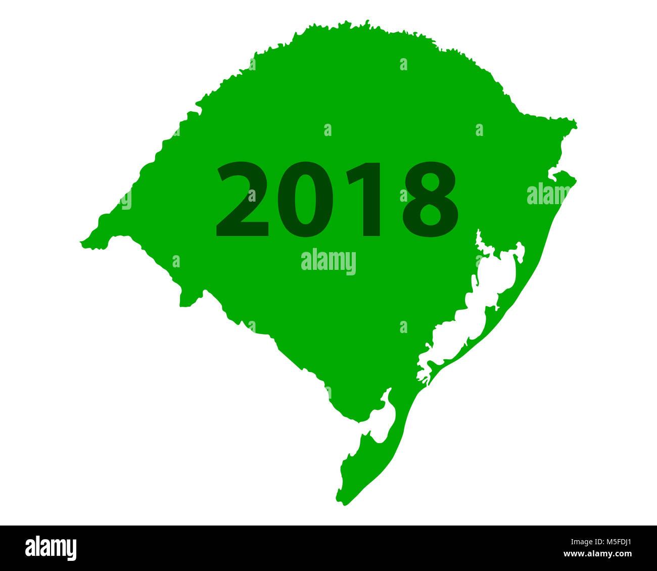 Map of Rio Grande do Sul 2018 Stock Photo