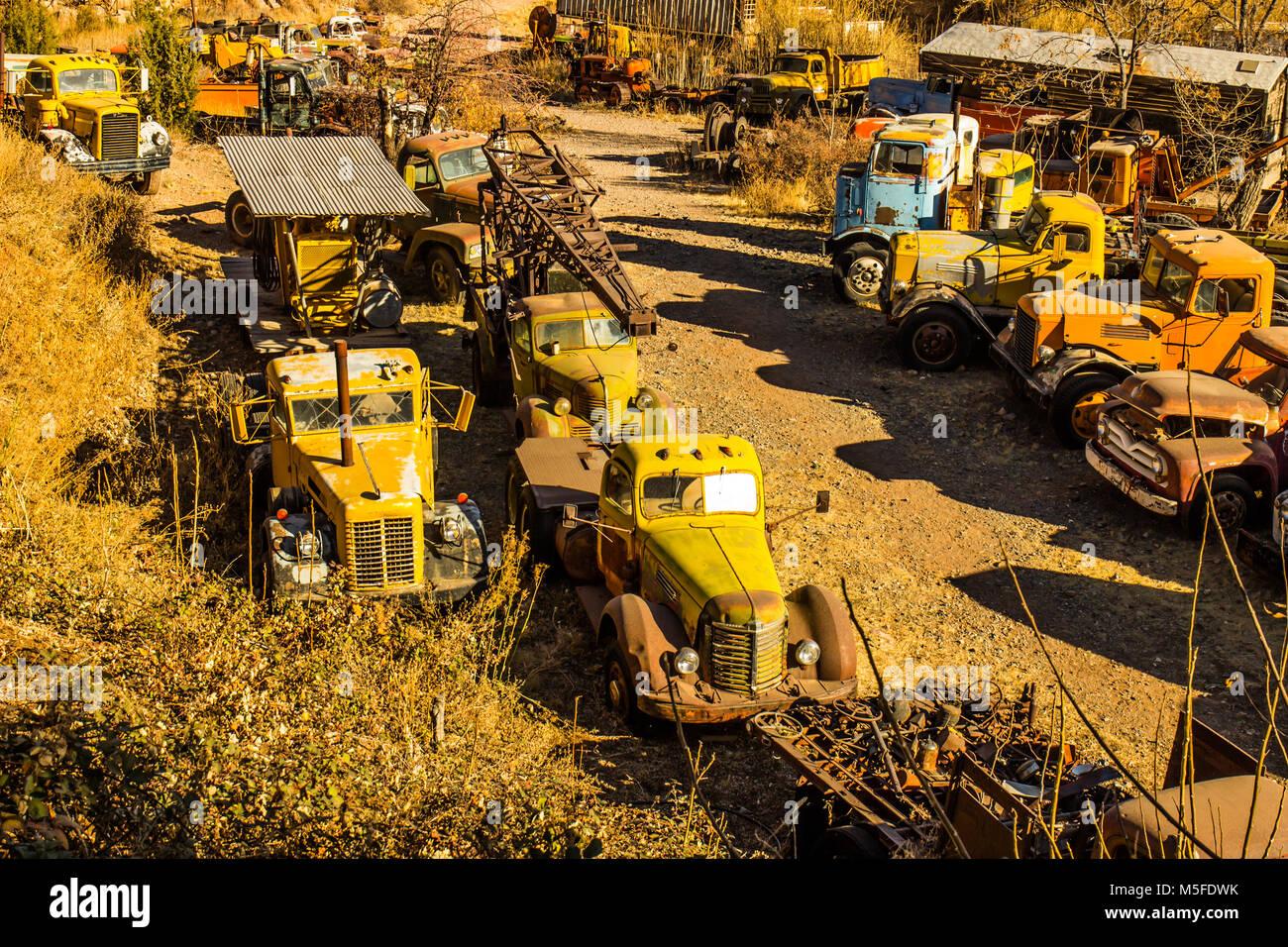 Graveyard Of Vintage Heavy Duty Vehicles In Salvage Yard