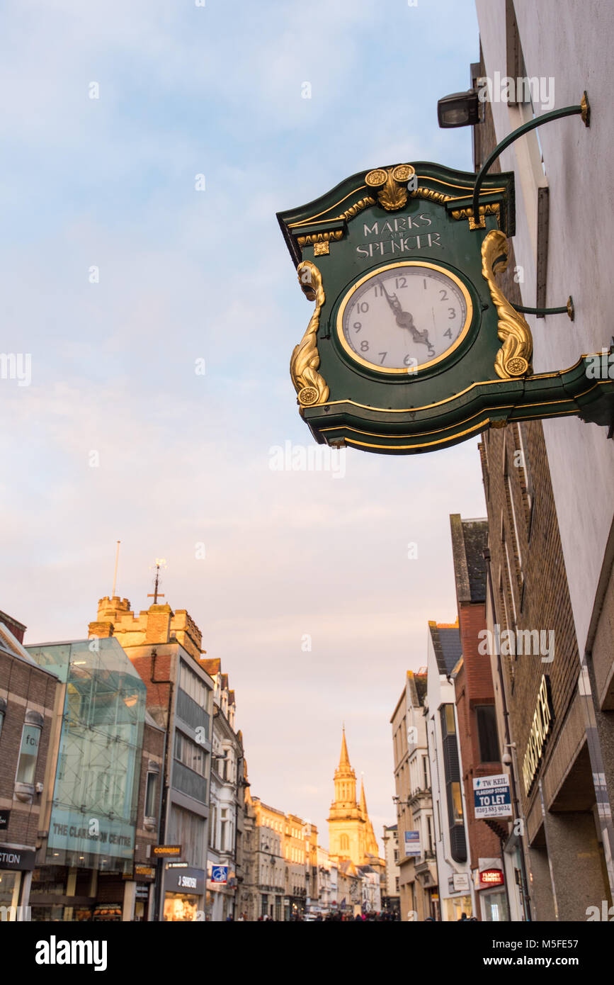 Marks and Spencer clock on Queen Street - Oxford UK - Stock Image