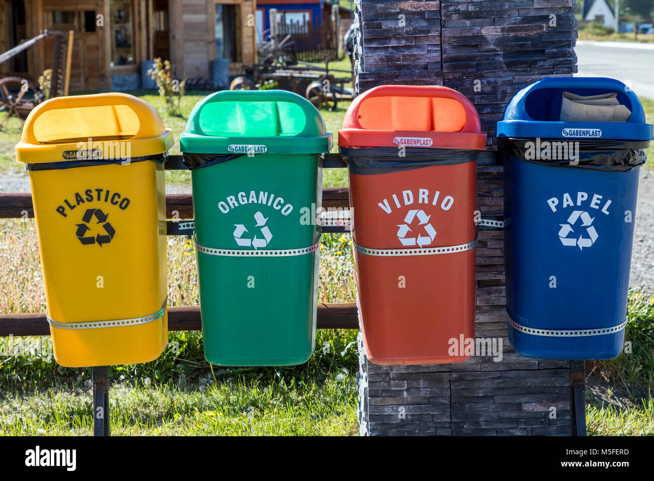 Recycling containers; small mountain village of El Chalten; jumping off point to Cerro Torre and Cerro Fitz Roy; - Stock Image