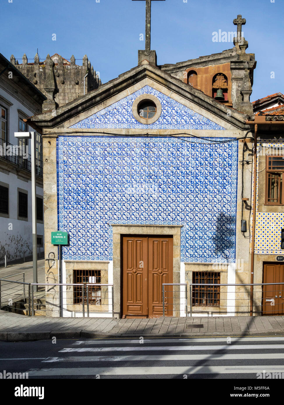 Historic chapel with wall tiles in Porto, Portugal - Stock Image