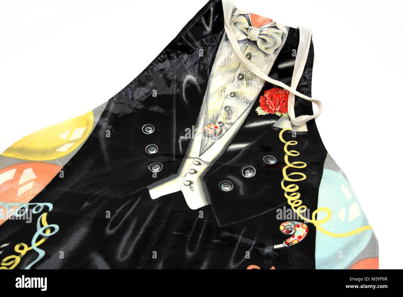 PVC Apron With Tuxedo Design - Stock Image