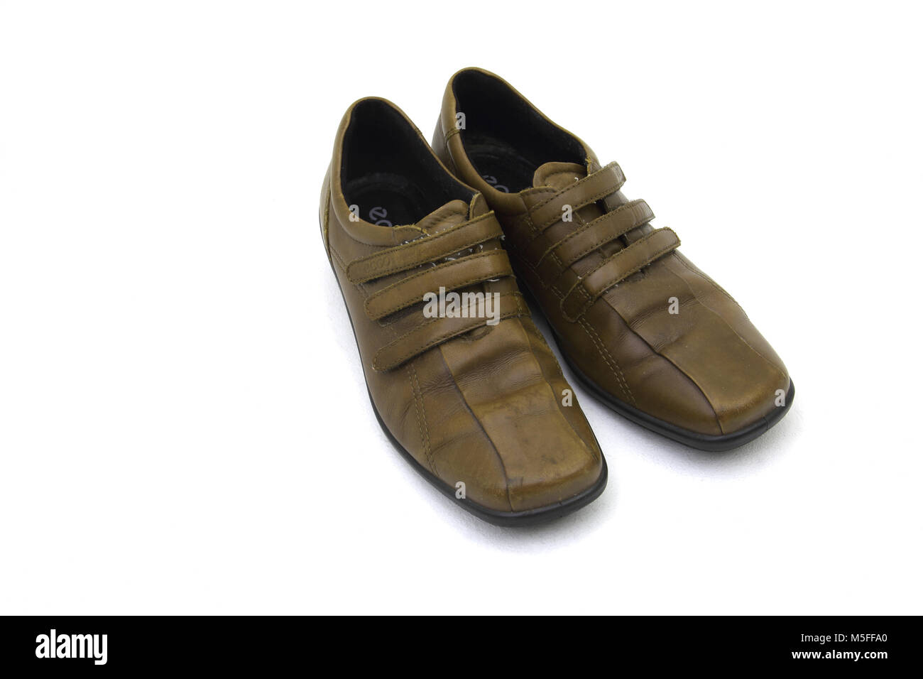 Ecco Brown Leather Shoes With Velcro Straps - Stock Image