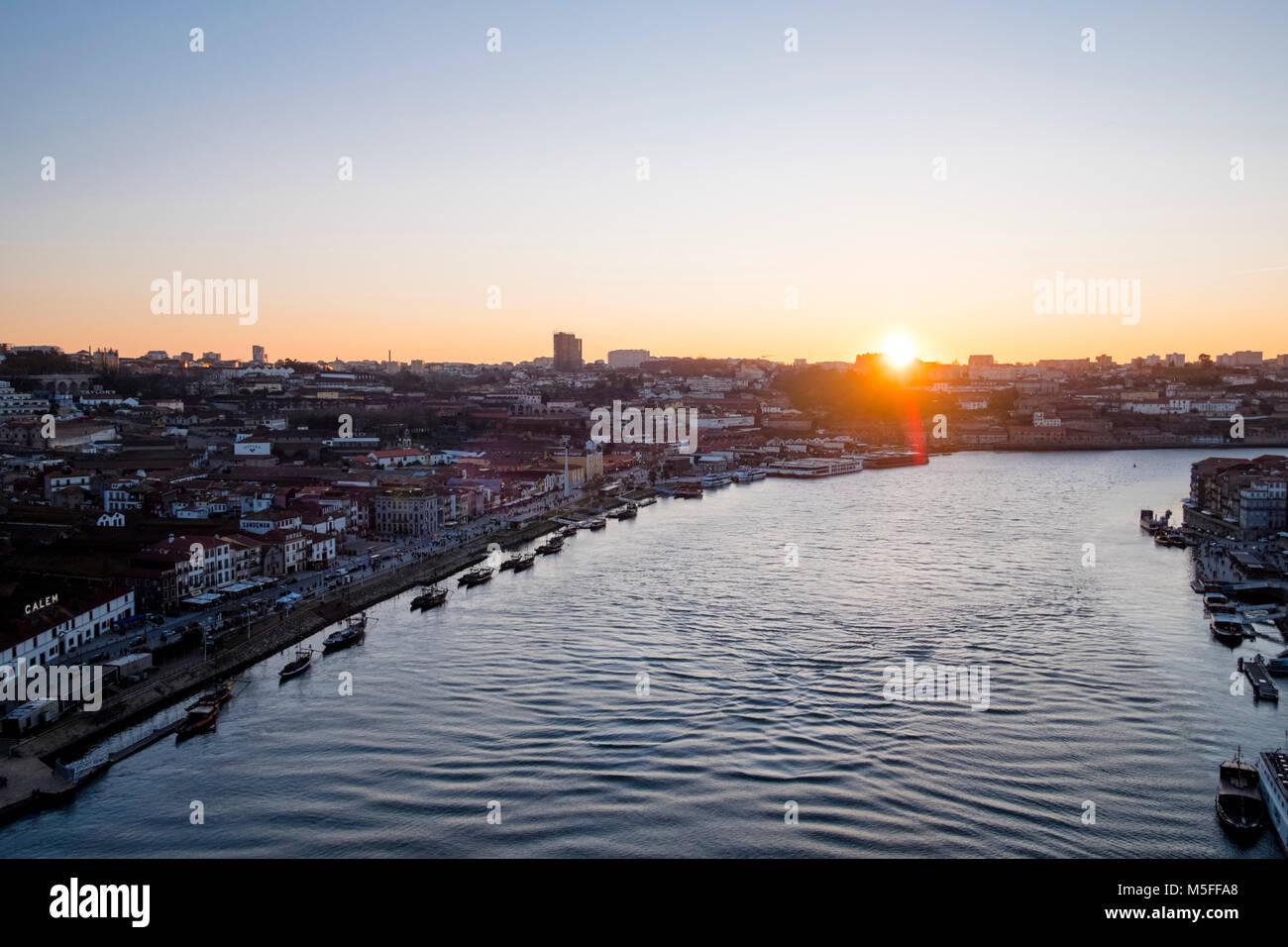 Cityscape with Douro river in Porto, Portugal - Stock Image