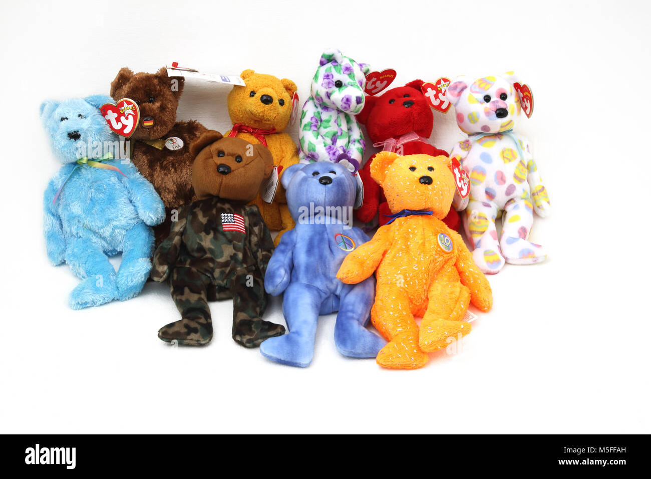 Collection of TY Beanie Babies Including FIFA 2002 World Cup Bear and 10 Year Anniversary Bear - Stock Image