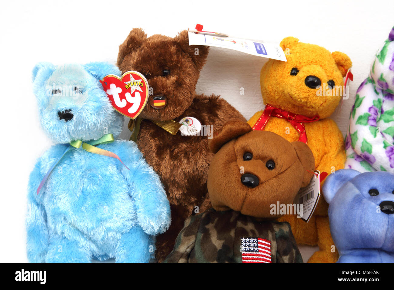 Collection of TY Beanie Babies Including FIFA 2002 World Cup Bear - Stock Image
