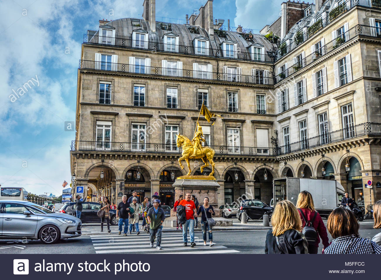 Jeanne d'Arc, a gilded bronze equestrian sculpture of Joan of Arc by Emmanuel Frémiet in the Place des - Stock Image