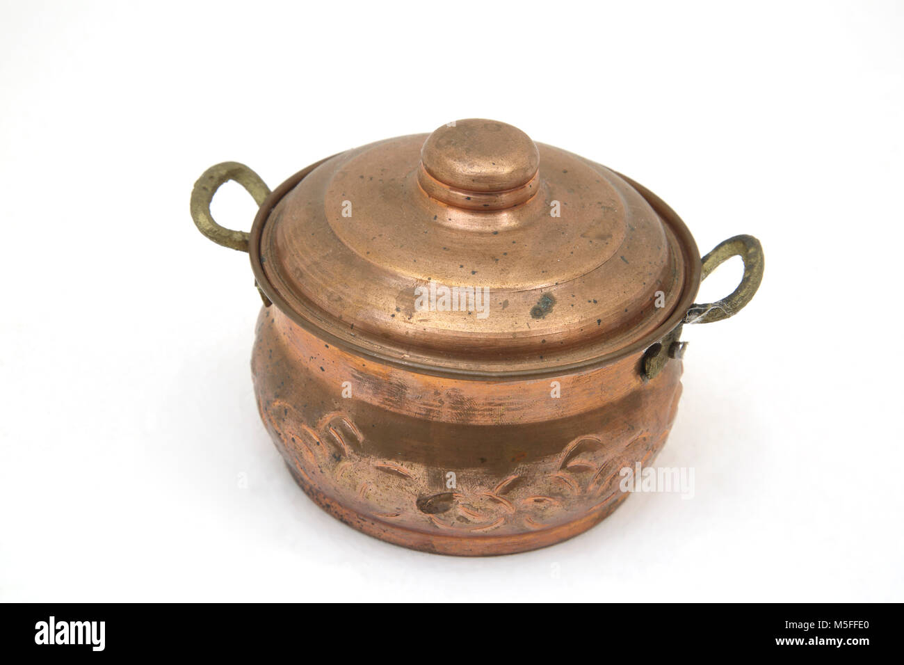 Copper Cooking Pot With Handles - Stock Image