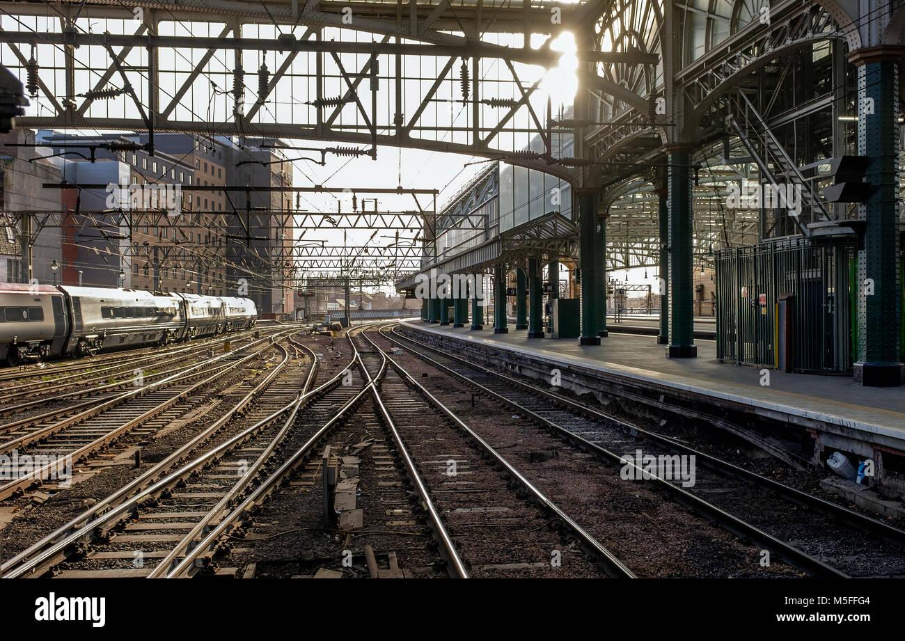 Railway tracks approaching Glasgow Central railway station, Glasgow, Scotland, UK - Stock Image