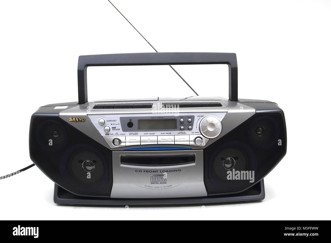 Sanyo Portable CD Radio Cassette Recorder Stock Photo