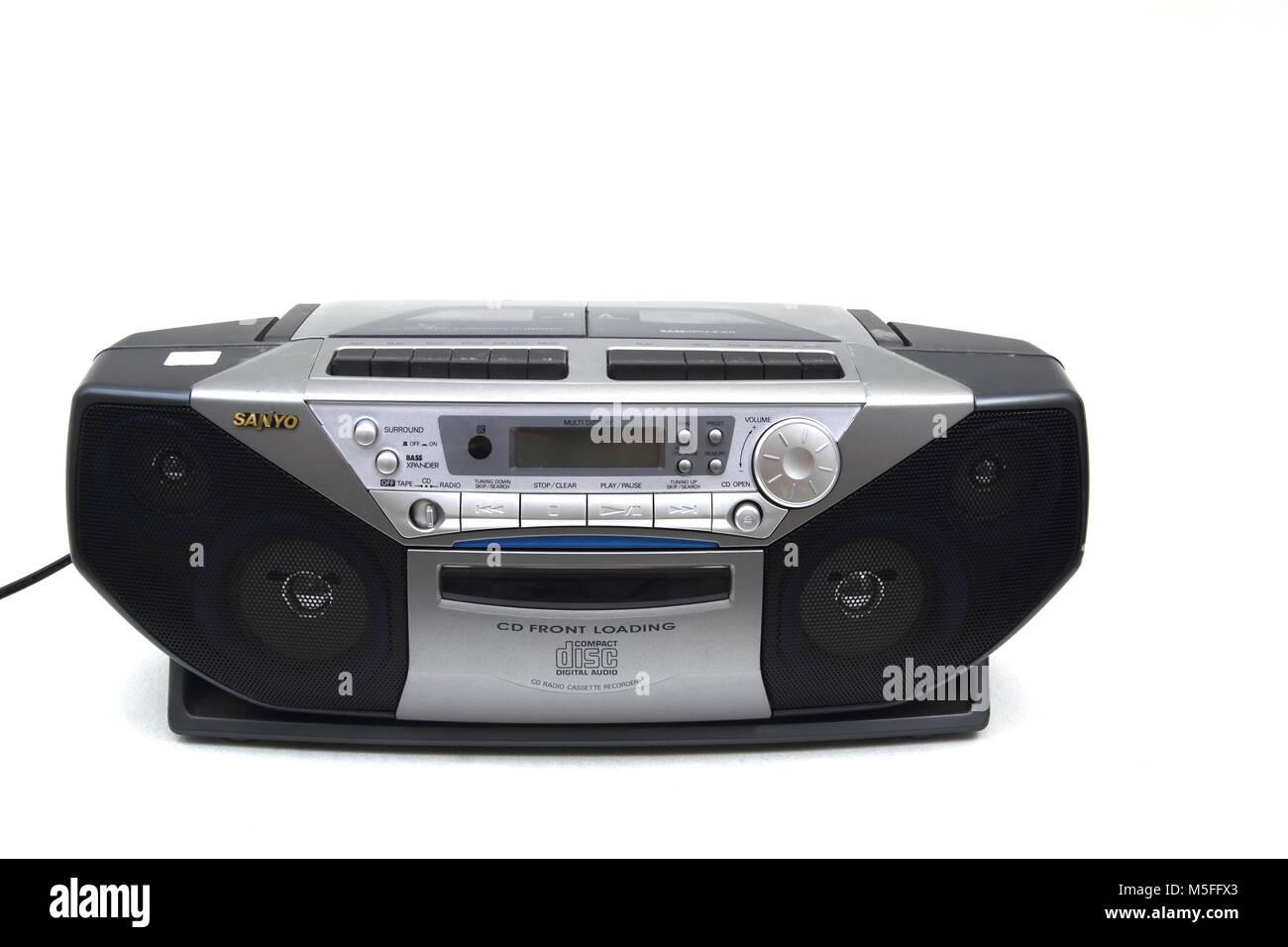 Sanyo Portable CD Radio Cassette Recorder - Stock Image
