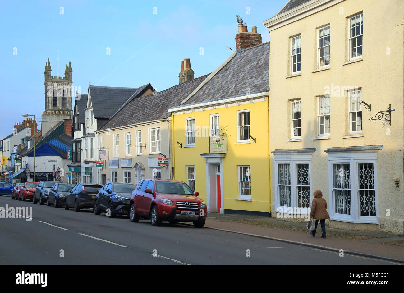 Market town of Honiton in East Devon famous by antique shops Stock Photo