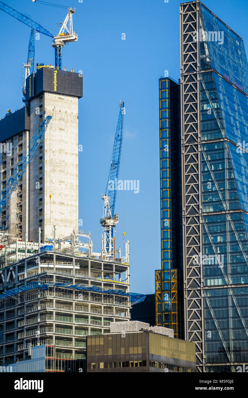 City of London changing skyline: concrete core of new financial district skyscraper 22 Bishopsgate under construction Stock Photo