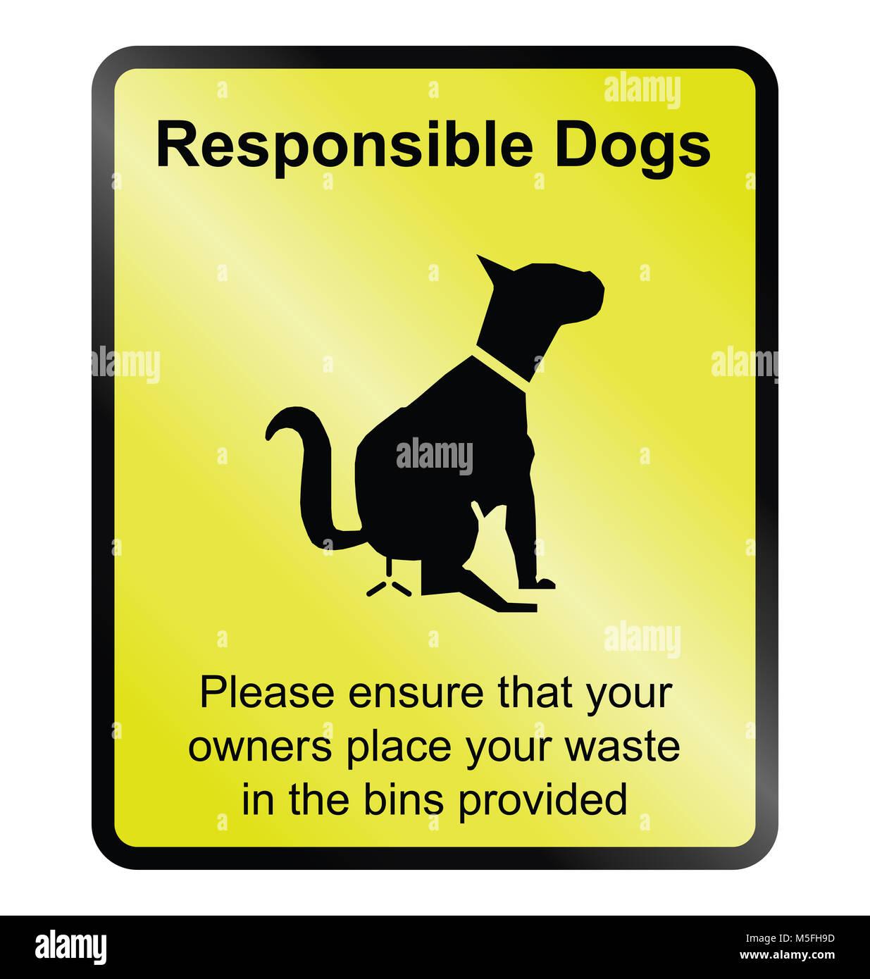 Yellow responsible dog waste public information sign isolated on white background - Stock Image
