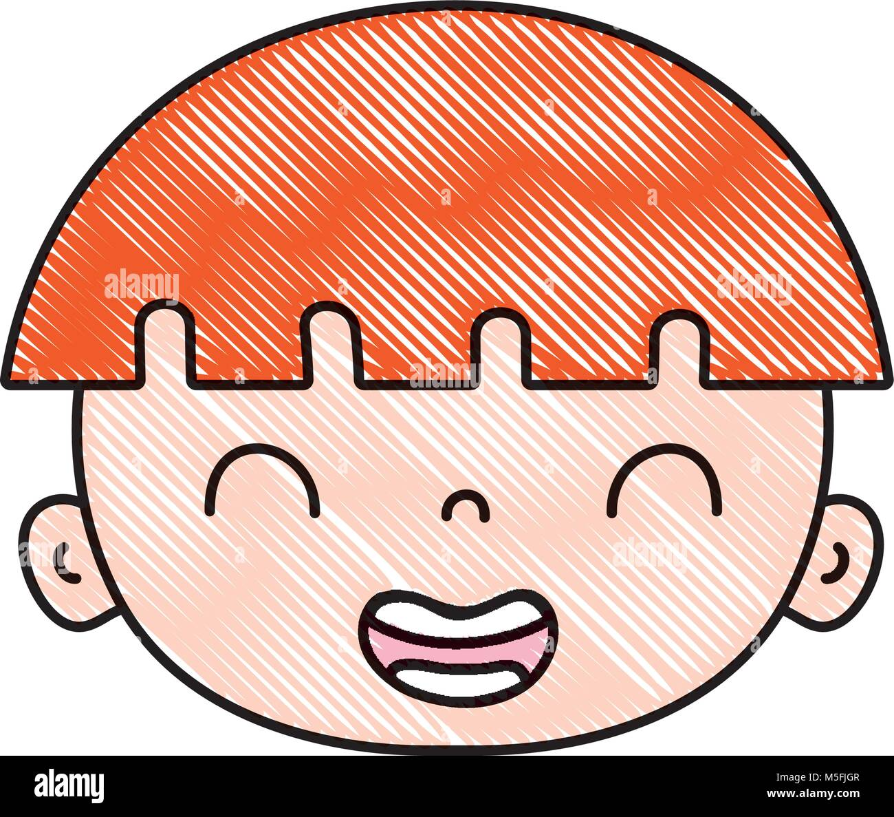 Grated Smile Avatar Boy Face With Hairstyle Vector Illustration