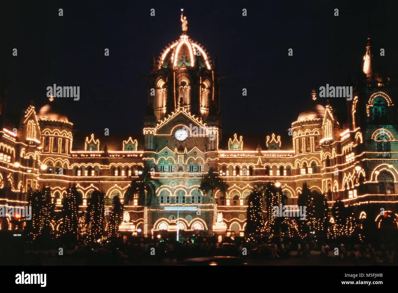 VT Station on 150 years of Completion, Mumbai, Maharashtra, India Stock Photo