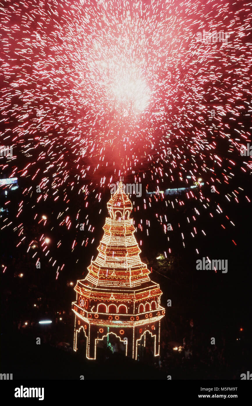 Fireworks exploding, thrissur pooram march festival, Kerala, India, Asia - Stock Image