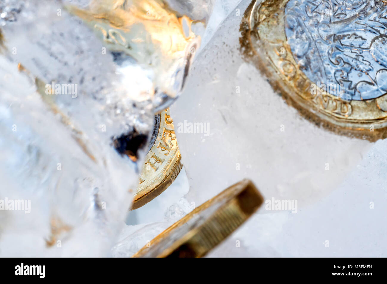Frozen New British one pound sterling coin up close macro inside ice cubes. - Stock Image