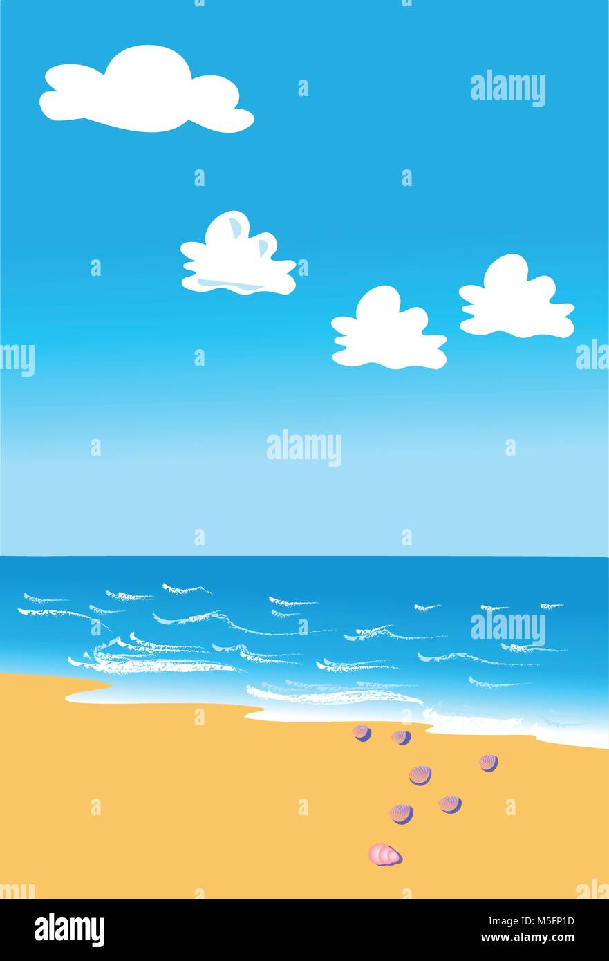 A tranquill beach scene with gentle waves, a blue sky with fluffy white clouds and a scattering of sea shells - Stock Vector