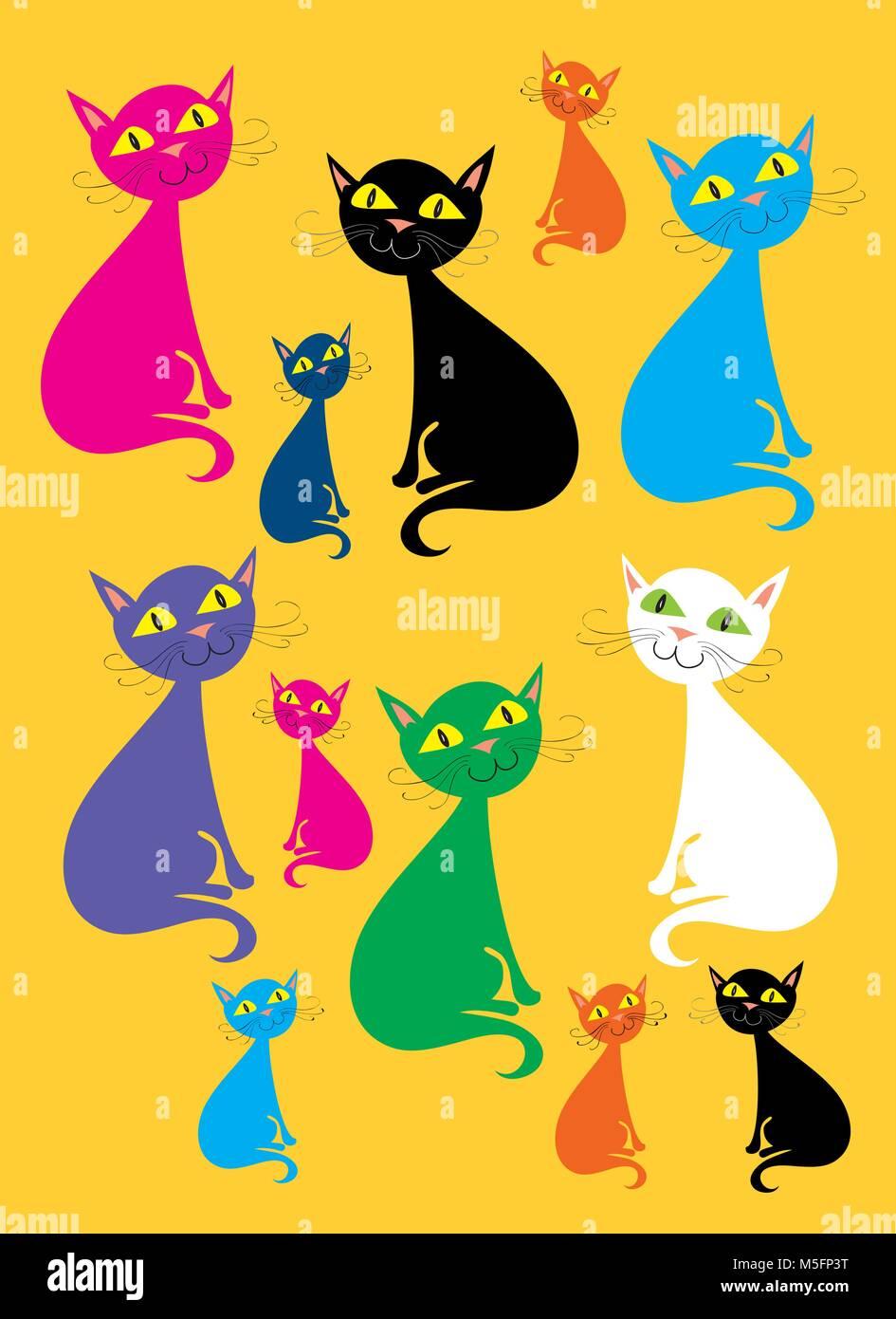 multi colored cats - Stock Vector