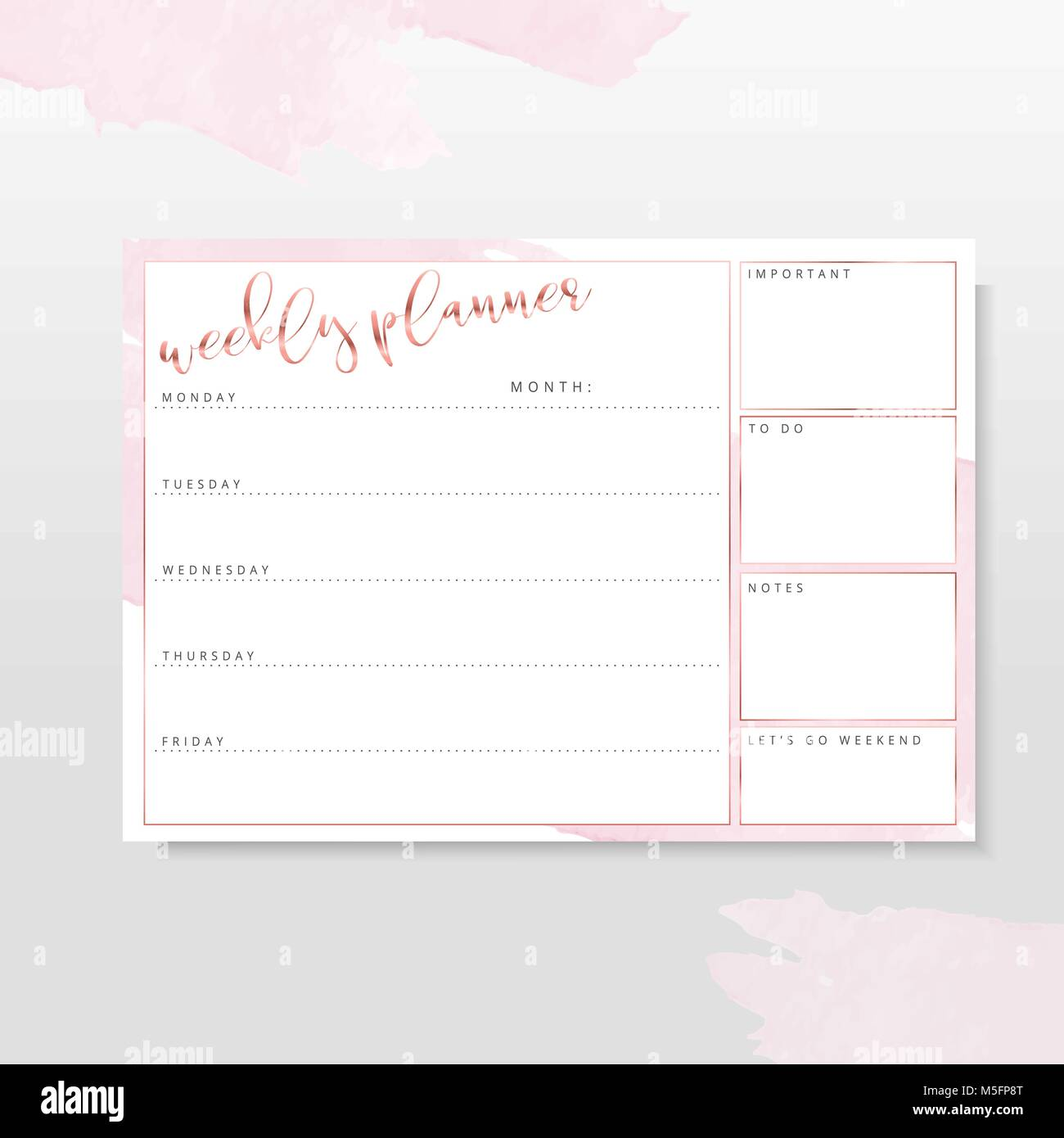 rose gold weekly planne stationery organizer for daily plans